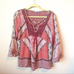 Maurice's Multi-Color Maroon Blouse